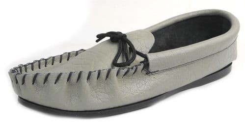Coopers Mens Grey Moccasin Leather Outdoor Sole Slippers